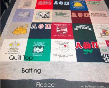 allcreated - t-shirt quilt tutorial