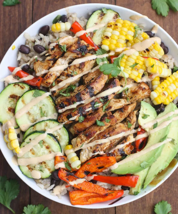 allcreated - grilled ranch chicken and veggie bowl