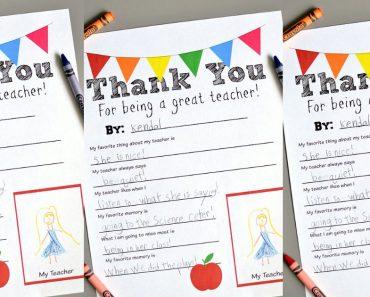 allcreated - teacher thank you printable