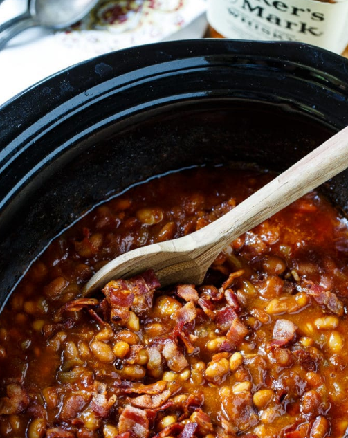 allcreated - slow cooker bourbon baked beans