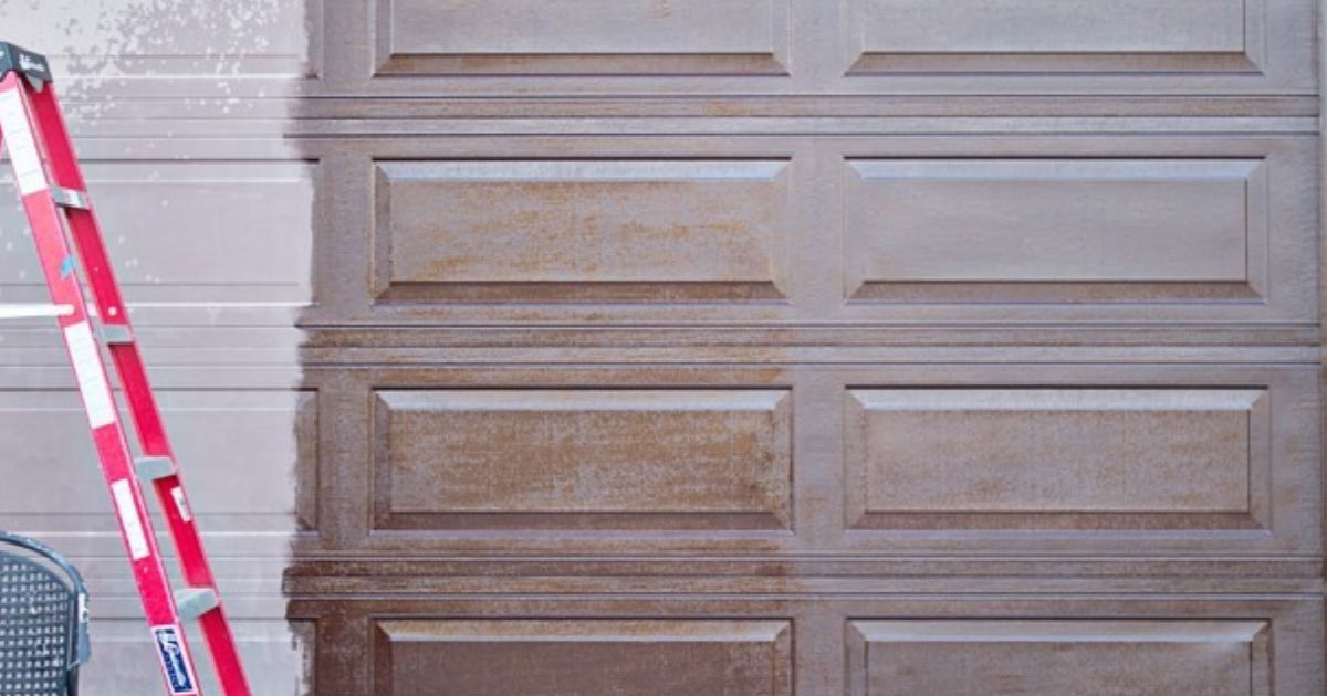 Stain a garage door with gel stain to improve curb appeal for How to stain a garage door
