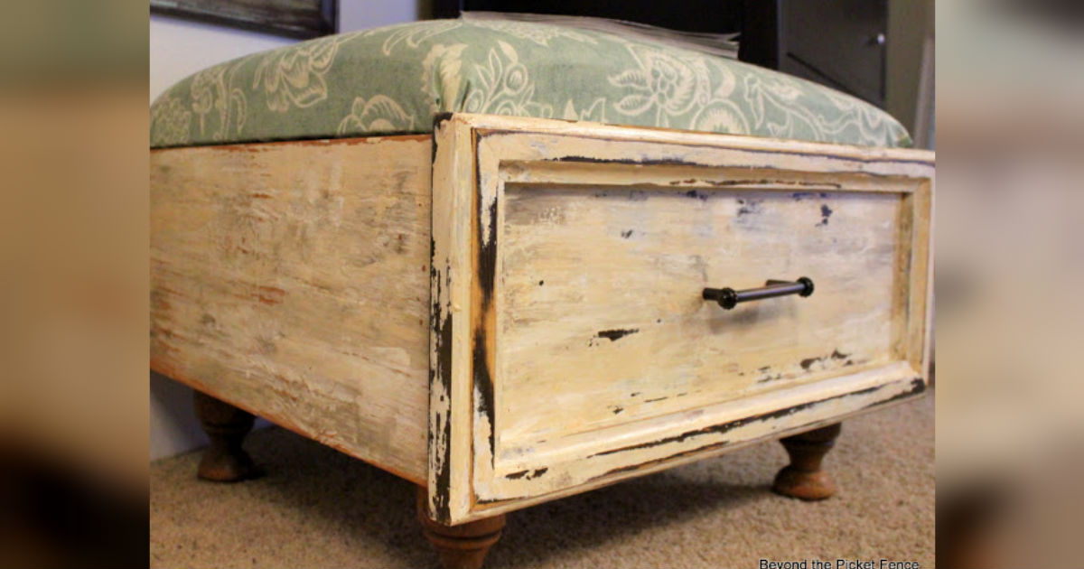 Furniture Upcycle Old Drawer Transformed To Ottoman