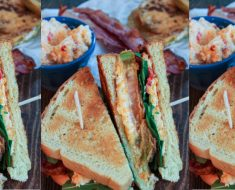 allcreated - fried green tomato blt with pimento cheese
