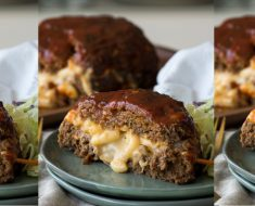 allcreated - macaroni and cheese stuffed meatloaf
