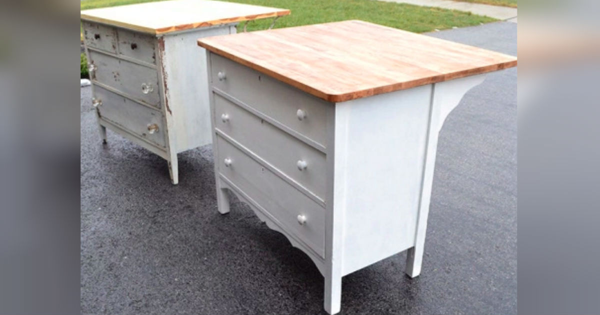 Diy Kitchen Island Upcycles Vintage Dresser Into Charming Counterspace