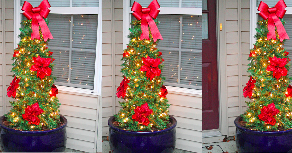 tomato cage christmas trees are easy and inexpensive outdoor decor - Tomato Cage Christmas Decorations