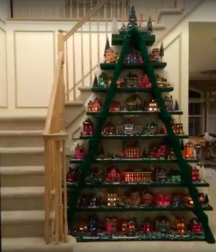 allcreated ladder christmas tree village