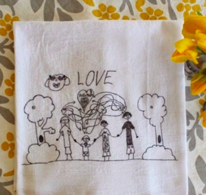 kids' art into tea towels