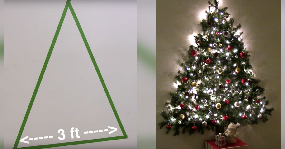 Wall Mounted Christmas Tree Saves Space By Attaching Garland Lights